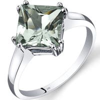 Oravo 14k White Gold 2ct TGW Green Amethyst Princess-cut Solitaire Ring
