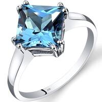 Oravo 14k White Gold 2 3/4ct TGW Swiss Blue Topaz Princess-cut Solitaire Ring
