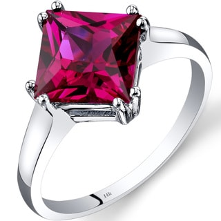 Oravo 14k White Gold 3 1/4ct TGW Created Ruby Princess-cut Solitaire Ring