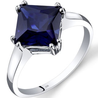 Oravo 14k White Gold 3 1/4ct TGW Created Sapphire Princess-cut Solitaire Ring
