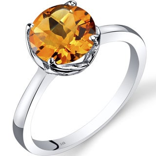 Oravo 14k White Gold 1 3/4ct TGW Citrine Checkerboard-cut Solitaire Ring
