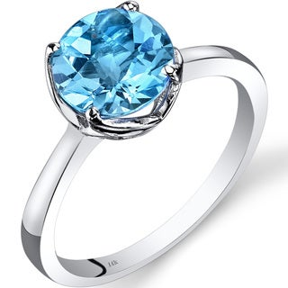 Oravo 14k White Gold 2 1/4ct TGW Swiss Blue Topaz Checkerboard-cut Solitaire Ring