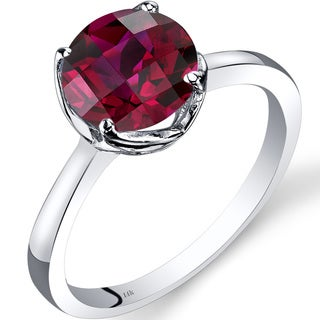 Oravo 14k White Gold 2 1/2ct TGW Created Ruby Checkerboard-cut Solitaire Ring