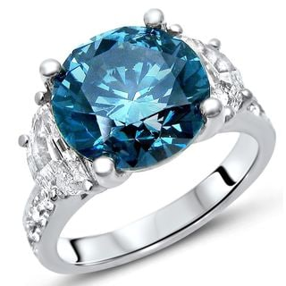 Noori 18k White Gold 5 1/5ct TDW Round Blue Diamond Half Moon Engagement Ring (G-H, SI1-SI2)