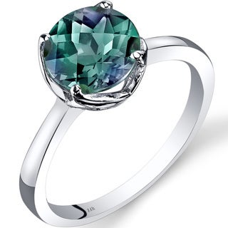 Oravo 14k White Gold 2 1/4ct TGW Created Alexandrite Checkerboard-cut Solitaire Ring
