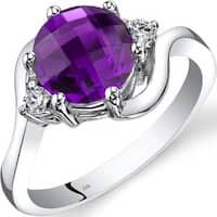 Oravo 14k White Gold 1 3/4ct TGW Amethyst 1/10ct TDW Diamond 3 Stone Ring