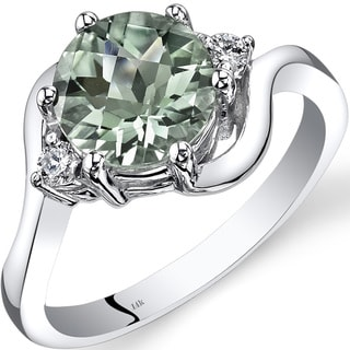 Oravo 14k White Gold 1 3/4ct TGW Green Amethyst 1/10ct TDW Diamond 3 Stone Ring