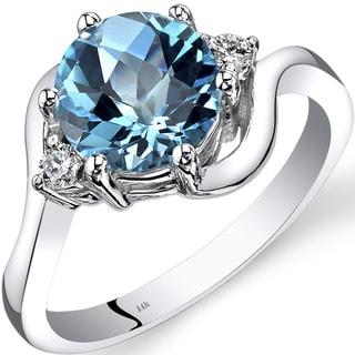 Oravo 14k White Gold 2 1/4ct TGW Swiss Blue Topaz 1/10ct TDW Diamond 3 Stone Ring