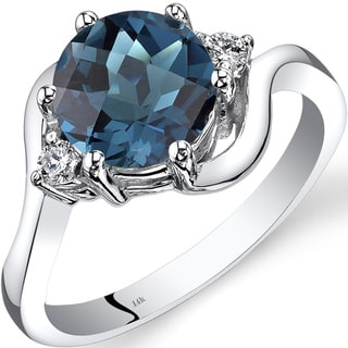 Oravo 14k White Gold 2 1/4ct TGW London Blue Topaz 1/10ct TDW Diamond 3 Stone Ring