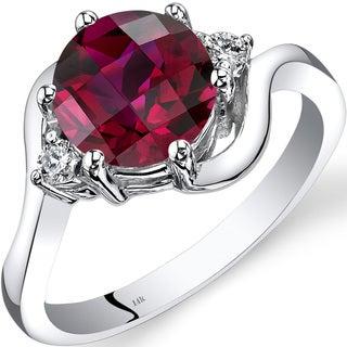 Oravo 14k White Gold 2 1/2ct TGW Created Ruby 1/10ct TDW Diamond 3 Stone Ring