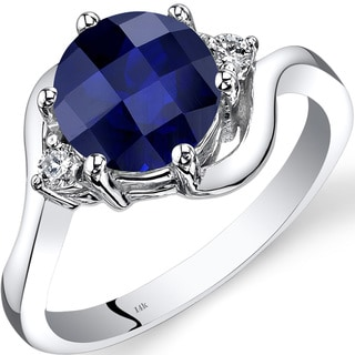 Oravo 14k White Gold 2 1/2ct TGW Created Sapphire 1/10ct TDW Diamond 3 Stone Ring