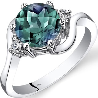 Oravo 14k White Gold 2 1/4ct TGW Created Alexandrite 1/10ct TDW Diamond 3 Stone Ring