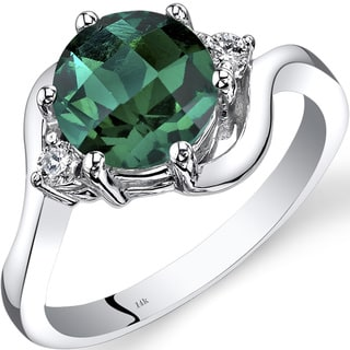 Oravo 14k White Gold 1 3/4ct TGW Created Emerald 1/10ct TDW Diamond 3 Stone Ring