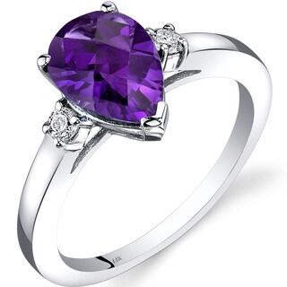 Oravo 14k White Gold 1 1/2ct TGW Amethyst 1/10ct TDW Diamond Tear Drop Ring