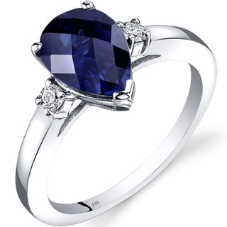 Oravo 14k White Gold 2 1/2ct TGW Created Sapphire 1/10ct TDW Diamond Tear Drop Ring