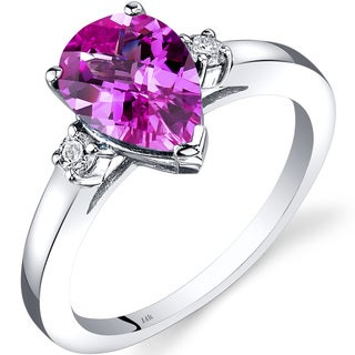 Oravo 14k White Gold 2 1/2ct TGW Created Pink Sapphire 1/10ct TDW Diamond Tear Drop Ring