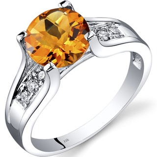 Oravo 14k White Gold 1 3/4ct TGW Citrine 1/8ct TDW Diamond Cathedral Ring
