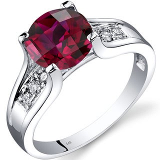 Oravo 14k White Gold 2 1/2ct TGW Created Ruby 1/8ct TDW Diamond Cathedral Ring