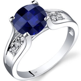 Oravo 14k White Gold 2 1/2ct TGW Created Sapphire 1/8ct TDW Diamond Cathedral Ring