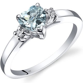 Oravo 14k White Gold 3/4ct TGW Aquamarine 1/10ct TDW Diamond Heart Ring