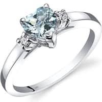 Oravo 14k White Gold 3/4ct TGW Aquamarine 1/10ct TDW Diamond Heart Ring