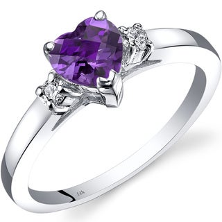 Oravo 14k White Gold 3/4ct TGW Amethyst 1/10ct TDW Diamond Heart Ring