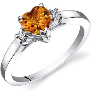 Oravo 14k White Gold 3/4ct TGW Citrine 1/10ct TDW Diamond Heart Ring