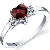 Oravo 14k White Gold 1ct TGW Garnet 1/10ct TDW Diamond Heart Ring