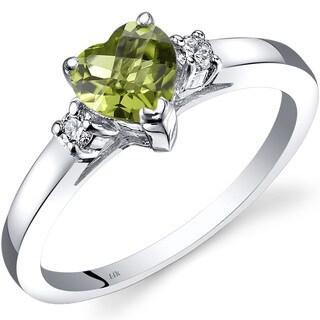 Oravo 14k White Gold 1ct TGW Peridot 1/10ct TDW Diamond Heart Ring