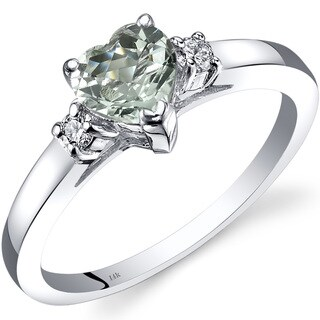 Oravo 14k White Gold 3/4ct TGW Green Amethyst 1/10ct TDW Diamond Heart Ring