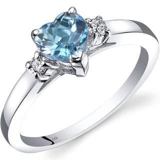 Oravo 14k White Gold 1ct TGW Swiss Blue Topaz 1/10ct TDW Diamond Heart Ring