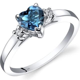 Oravo 14k White Gold 1ct TGW London Blue Topaz 1/10ct TDW Diamond Heart Ring