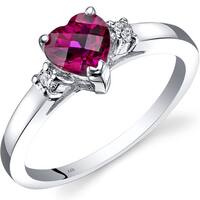 Oravo 14k White Gold 1ct TGW Created Ruby 1/10ct TDW Diamond Heart Ring