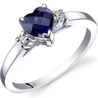 Oravo 14k White Gold 1ct TGW Created Sapphire 1/10ct TDW Diamond Heart Ring