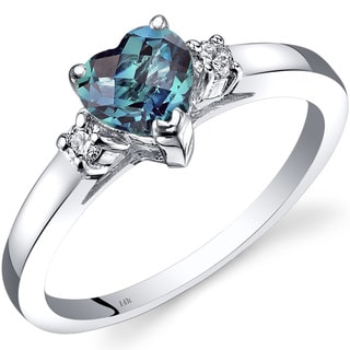 Oravo 14k White Gold 1ct TGW Created Alexandrite 1/10ct TDW Diamond Heart Ring