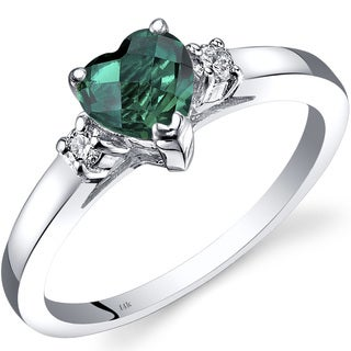 Oravo 14k White Gold 3/4ct TGW Created Emerald 1/10ct TDW Diamond Heart Ring