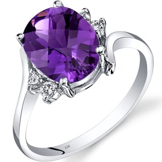 Oravo 14k White Gold 2ct TGW Amethyst 1/8ct TDW Diamond Bypass Ring