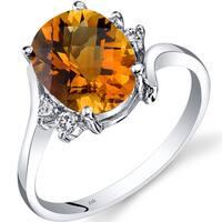 Oravo 14k White Gold 2 1/4ct TGW Citrine 1/8ct TDW Diamond Bypass Ring
