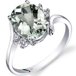 Oravo 14k White Gold 2 1/4ct TGW Green Amethyst 1/8ct TDW Diamond Bypass Ring