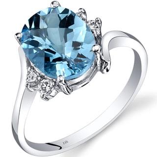 Oravo 14k White Gold 2 3/4ct TGW Swiss Blue Topaz 1/8ct TDW Diamond Bypass Ring