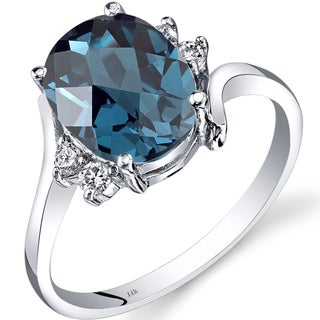 Oravo 14k White Gold 2 3/4ct TGW London Blue Topaz 1/8ct TDW Diamond Bypass Ring