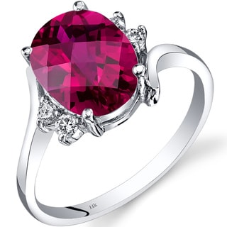 Oravo 14k White Gold 3 1/2ct TGW Created Ruby 1/8ct TDW Diamond Bypass Ring