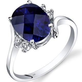 Oravo 14k White Gold 3 1/2ct TGW Created Sapphire 1/8ct TDW Diamond Bypass Ring