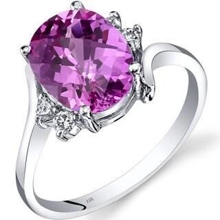 Oravo 14k White Gold 3 1/2ct TGW Created Pink Sapphire 1/8ct TDW Diamond Bypass Ring