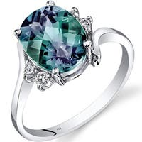 Oravo 14k White Gold 3ct TGW Created Alexandrite 1/8ct TDW Diamond Bypass Ring