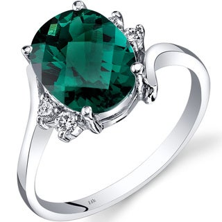 Oravo 14k White Gold 2 1/2ct TGW Created Emerald 1/8ct TDW Diamond Bypass Ring