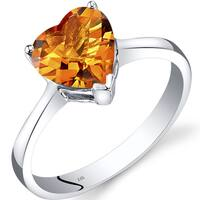 Oravo 14k White Gold 1 1/2ct TGW Citrine Heart Solitaire Ring