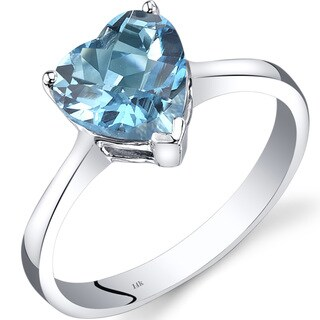 Oravo 14k White Gold 2ct TGW Swiss Blue Topaz Heart Solitaire Ring