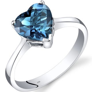 Oravo 14k White Gold 2ct TGW London Blue Topaz Heart Solitaire Ring