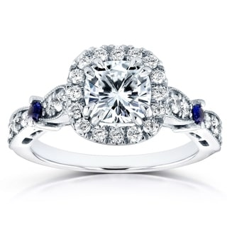 Annello by Kobelli 14k White Gold 1 3/5ct TCW Brilliant Moissanite Sapphire and Diamond Halo Antique